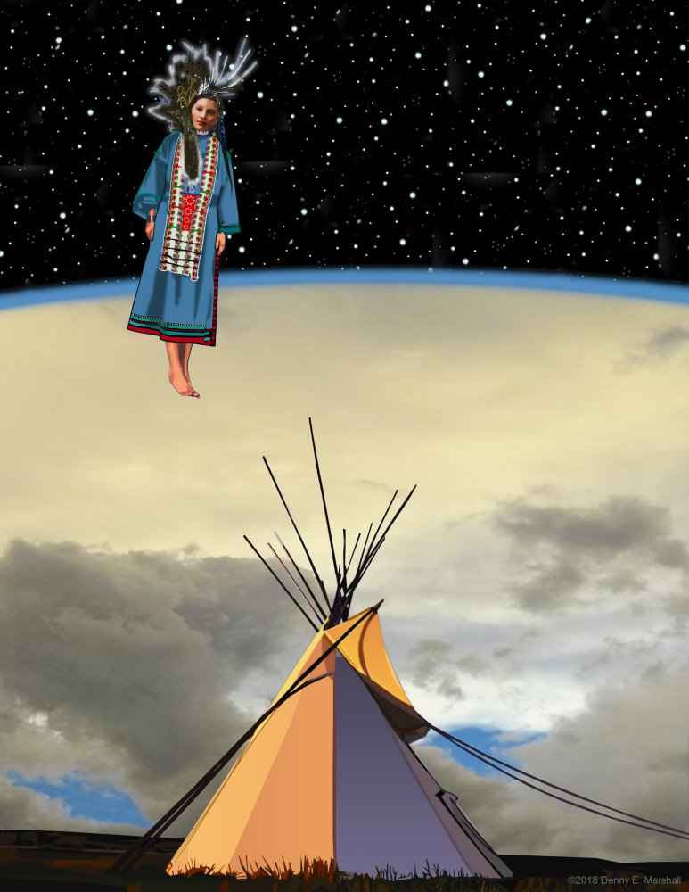 Illustration of Whope descending to earth by artist Deeny E. Marshall