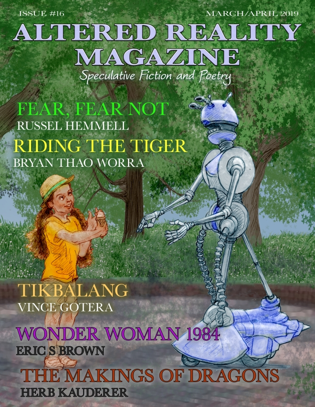 Cover art for the 2019 March and April cover of Altered Reality magazine