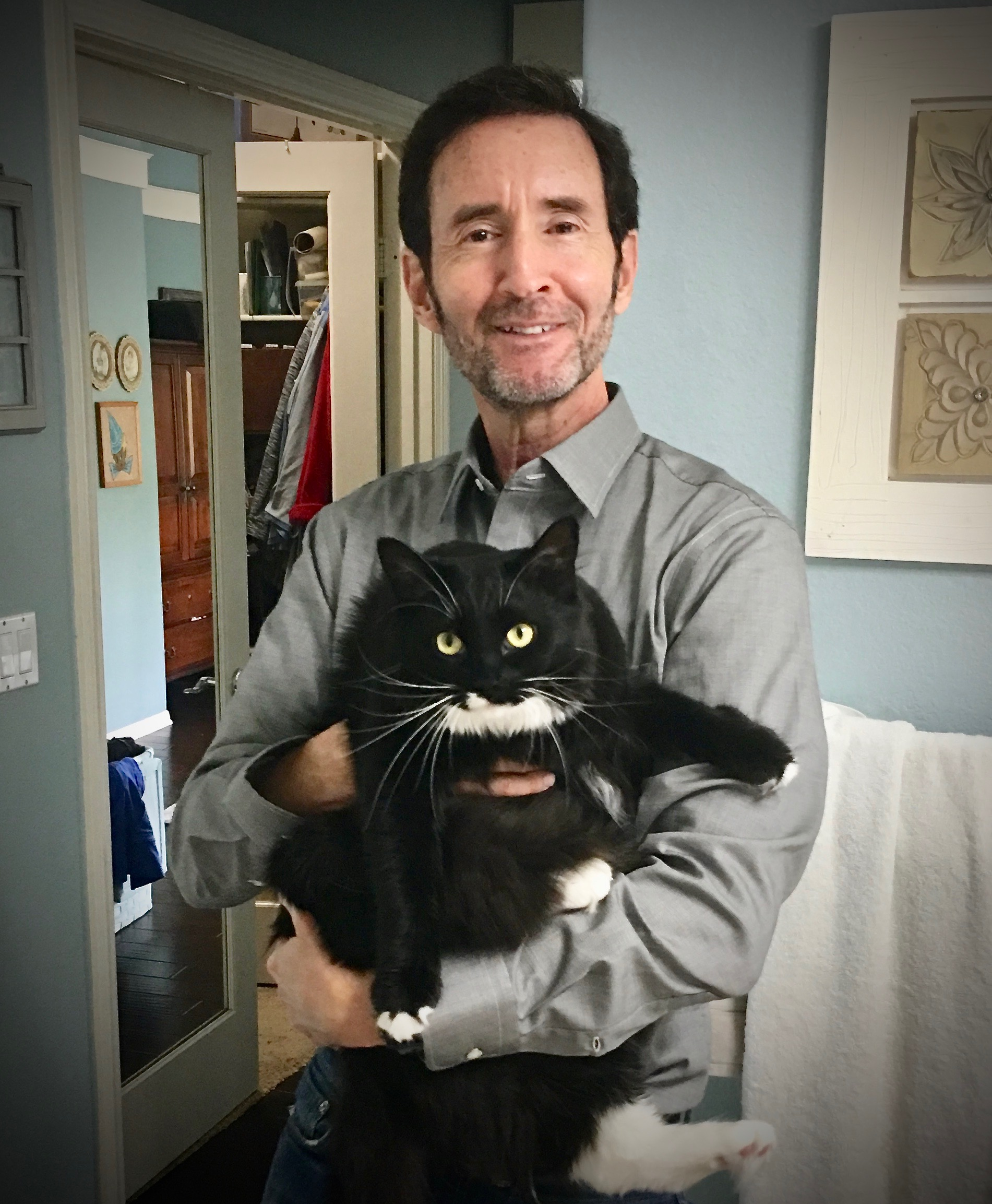 Ray with cat Luna