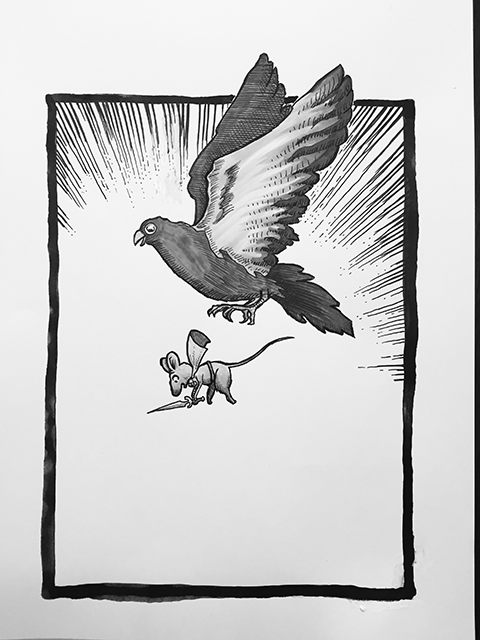A pigeon gives Eve Pixiedrowner a lift up in the battle against the faeries.