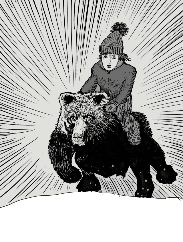 Nathan rides a bear through the woods
